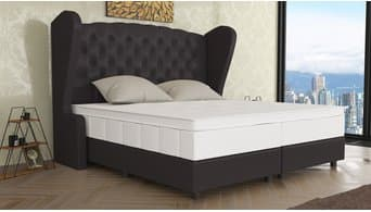 boxspringbett 160x200 boxspringbett in chesterfield design. Black Bedroom Furniture Sets. Home Design Ideas